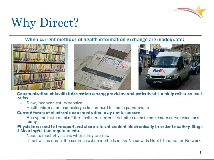 Why Direct? When current methods of health information exchange are inadequate: Communication of health