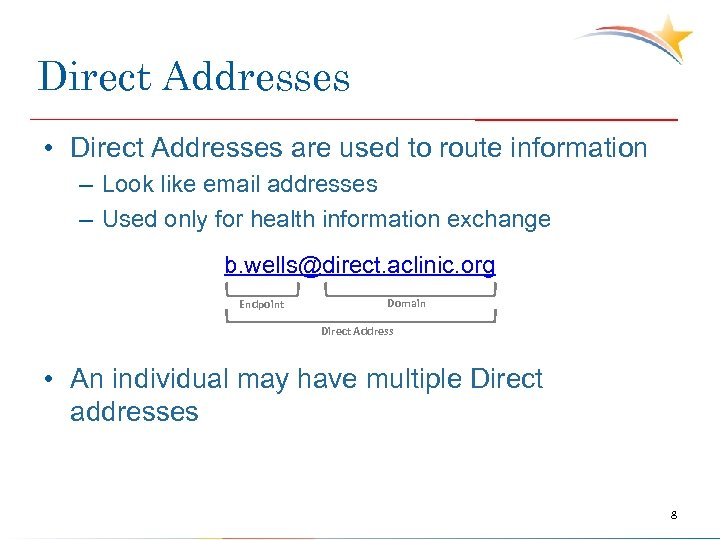 Direct Addresses • Direct Addresses are used to route information – Look like email