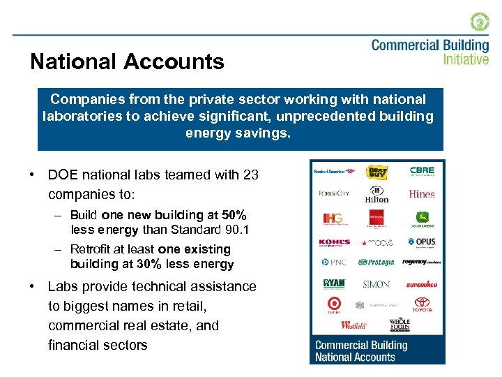 National Accounts Companies from the private sector working with national laboratories to achieve significant,