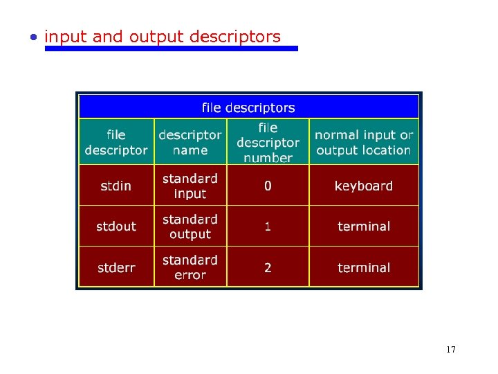 • input and output descriptors 17