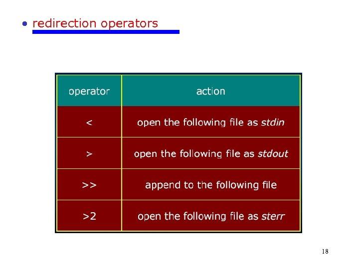 • redirection operators 18