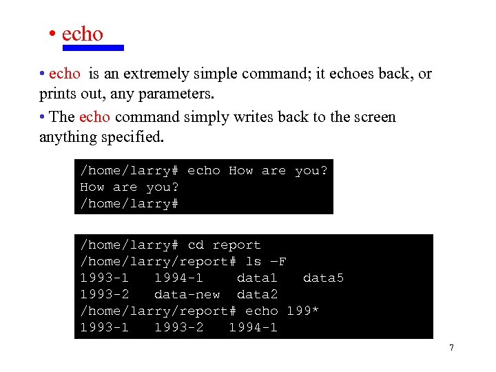 • echo is an extremely simple command; it echoes back, or prints out,