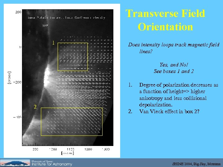 Transverse Field Orientation 1 Does intensity loops track magnetic field lines? Yes, and No!