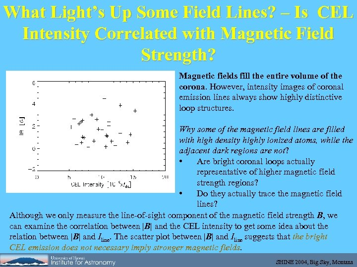 What Light's Up Some Field Lines? – Is CEL Intensity Correlated with Magnetic Field
