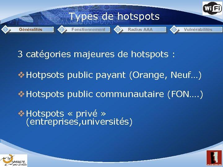 Types de hotspots 1 Généralités 2 Fonctionnement 3 Radius AAA 4 Vulnérabilités 3 catégories