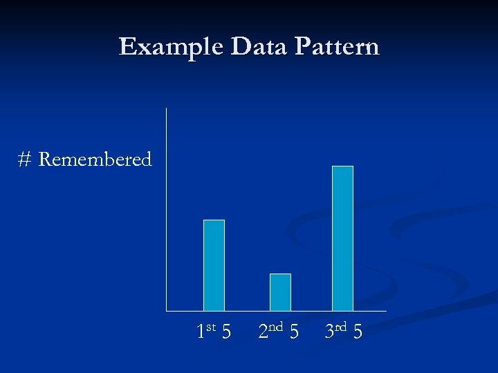 Example Data Pattern # Remembered 1 st 5 2 nd 5 3 rd 5