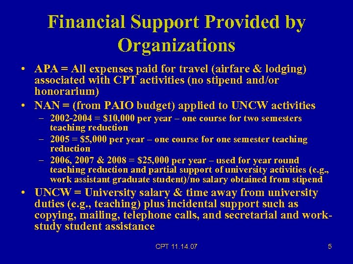 Financial Support Provided by Organizations • APA = All expenses paid for travel (airfare