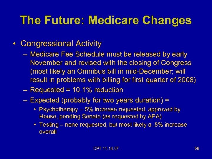 The Future: Medicare Changes • Congressional Activity – Medicare Fee Schedule must be released