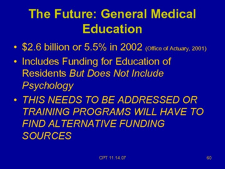 The Future: General Medical Education • $2. 6 billion or 5. 5% in 2002