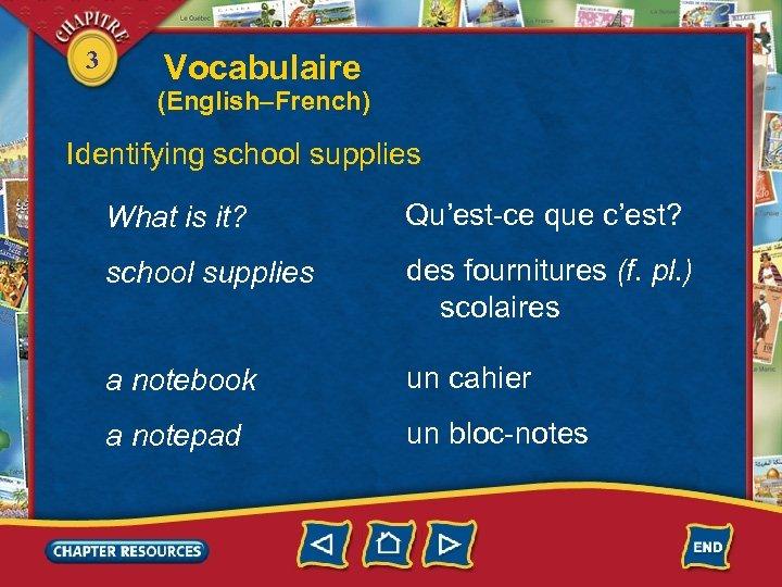 3 Vocabulaire (English–French) Identifying school supplies What is it? Qu'est-ce que c'est? school supplies