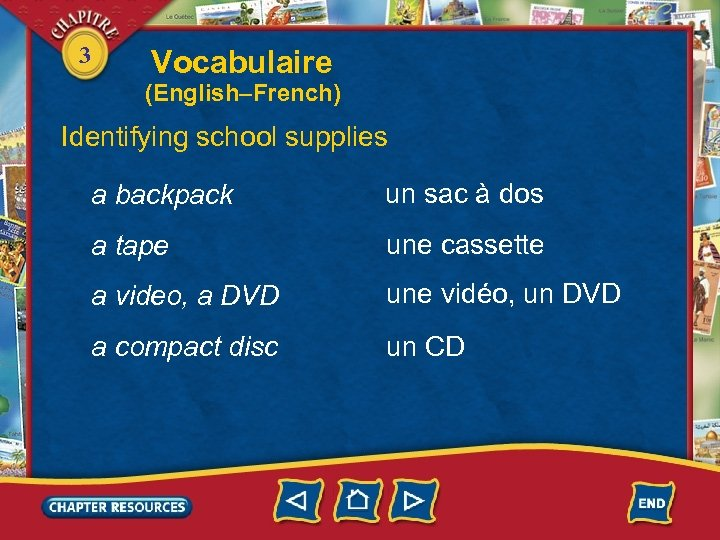 3 Vocabulaire (English–French) Identifying school supplies a backpack un sac à dos a tape