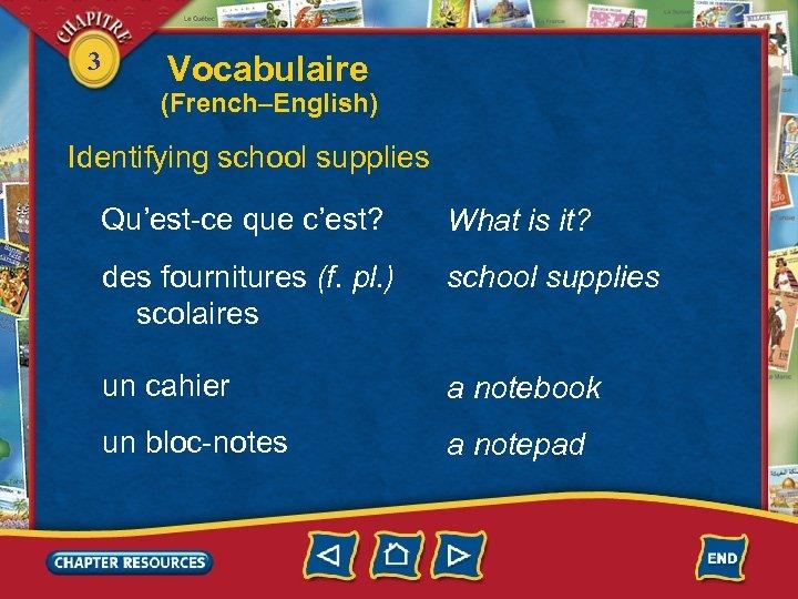3 Vocabulaire (French–English) Identifying school supplies Qu'est-ce que c'est? What is it? des fournitures