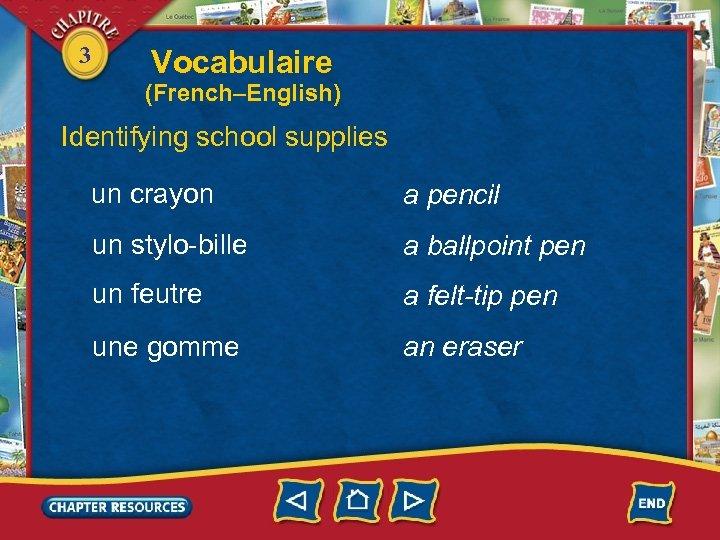 3 Vocabulaire (French–English) Identifying school supplies un crayon a pencil un stylo-bille a ballpoint