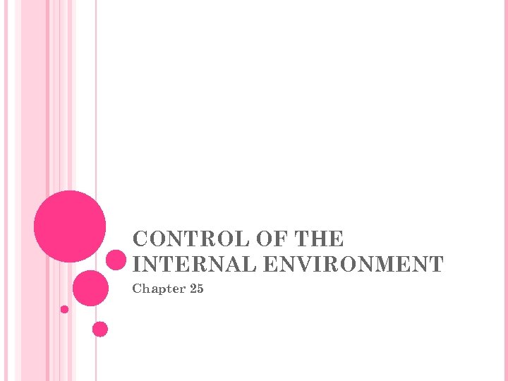 CONTROL OF THE INTERNAL ENVIRONMENT Chapter 25