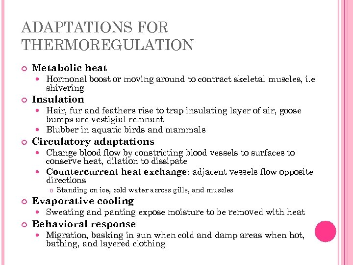 ADAPTATIONS FOR THERMOREGULATION Metabolic heat Hormonal boost or moving around to contract skeletal muscles,