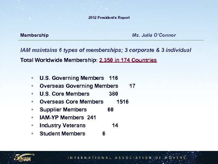 2012 President's Report Membership Ms. Julia O'Connor IAM maintains 6 types of memberships; 3