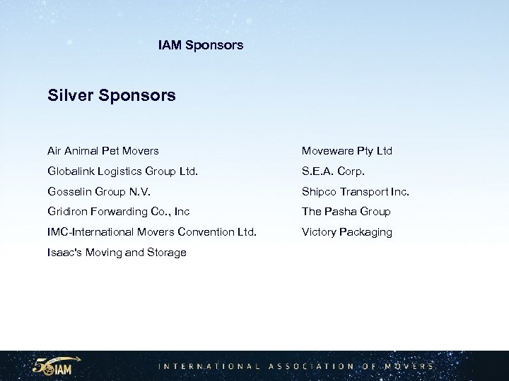 IAM Sponsors Silver Sponsors Air Animal Pet Movers Moveware Pty Ltd Globalink Logistics Group