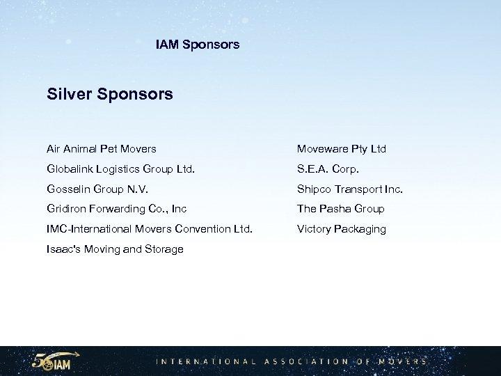 IAM Sponsors Silver Sponsors Air Animal Pet Movers Moveware Pty Ltd Globalink Logistics Group