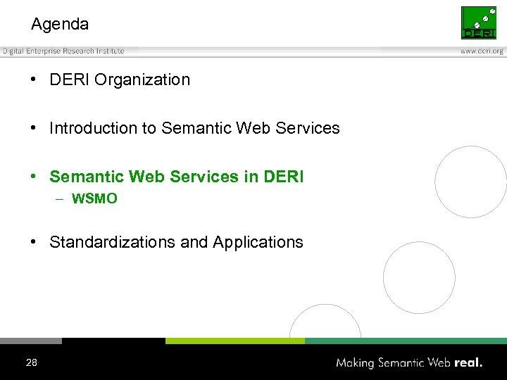 Agenda • DERI Organization • Introduction to Semantic Web Services • Semantic Web Services