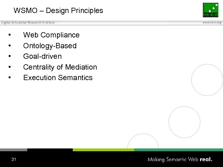 WSMO – Design Principles • • • Web Compliance Ontology-Based Goal-driven Centrality of Mediation