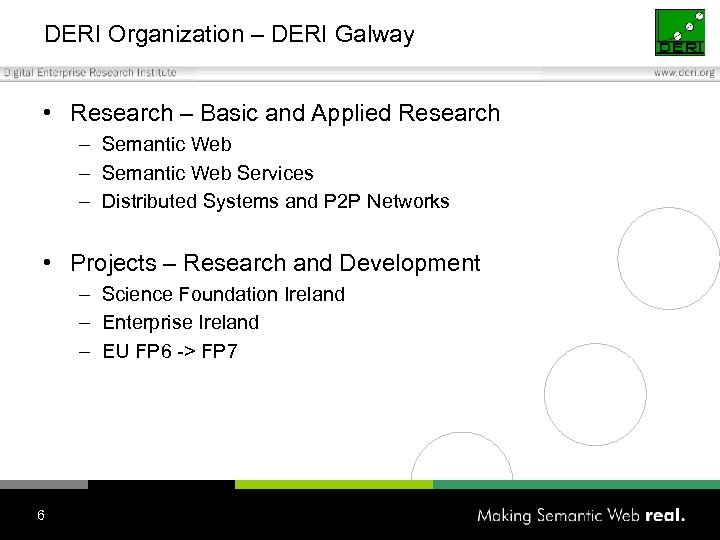 DERI Organization – DERI Galway • Research – Basic and Applied Research – Semantic
