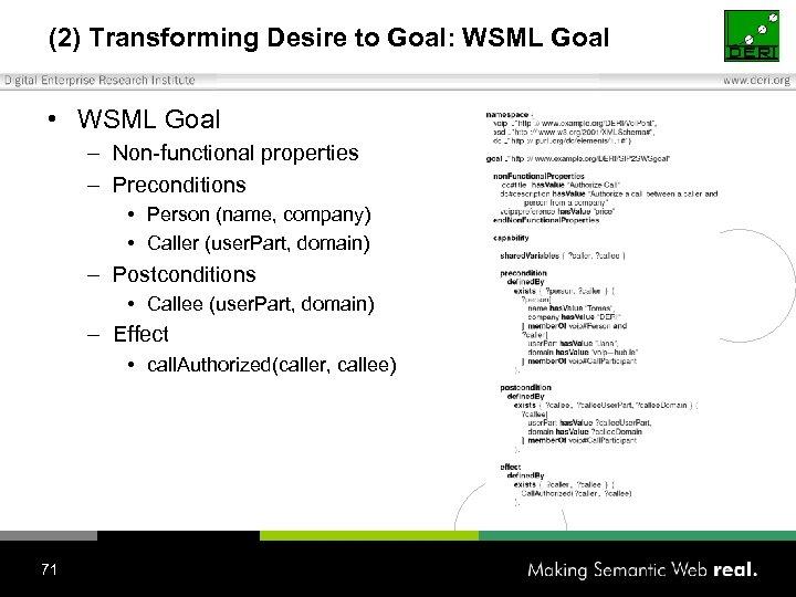 (2) Transforming Desire to Goal: WSML Goal • WSML Goal – Non-functional properties –
