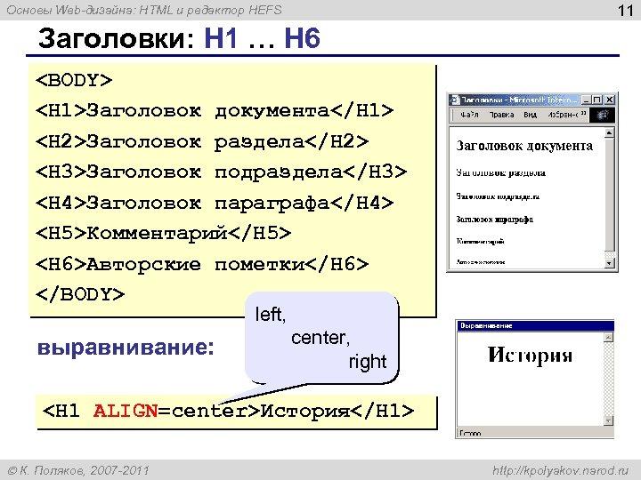 11 Основы Web-дизайна: HTML и редактор HEFS Заголовки: H 1 … H 6 <BODY>