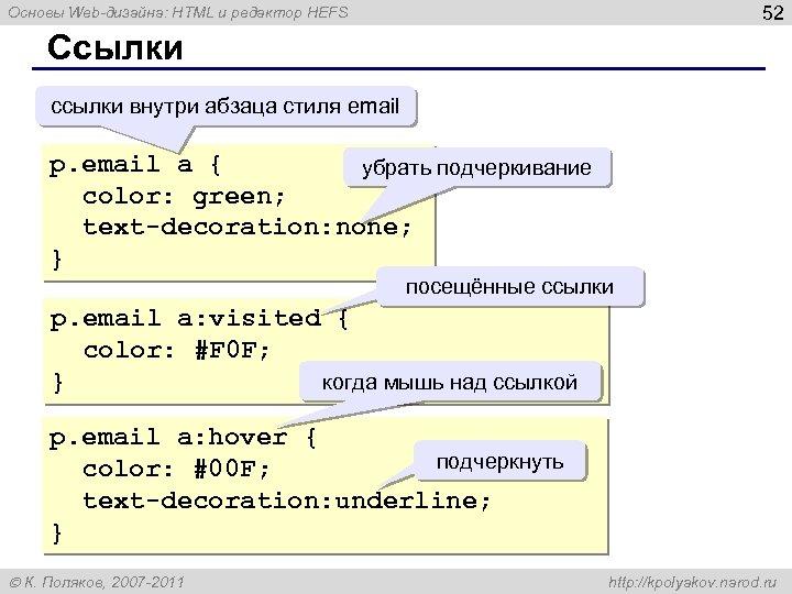 52 Основы Web-дизайна: HTML и редактор HEFS Ссылки ссылки внутри абзаца стиля email p.