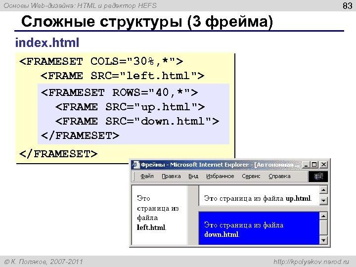 Основы Web-дизайна: HTML и редактор HEFS 83 Сложные структуры (3 фрейма) index. html <FRAMESET