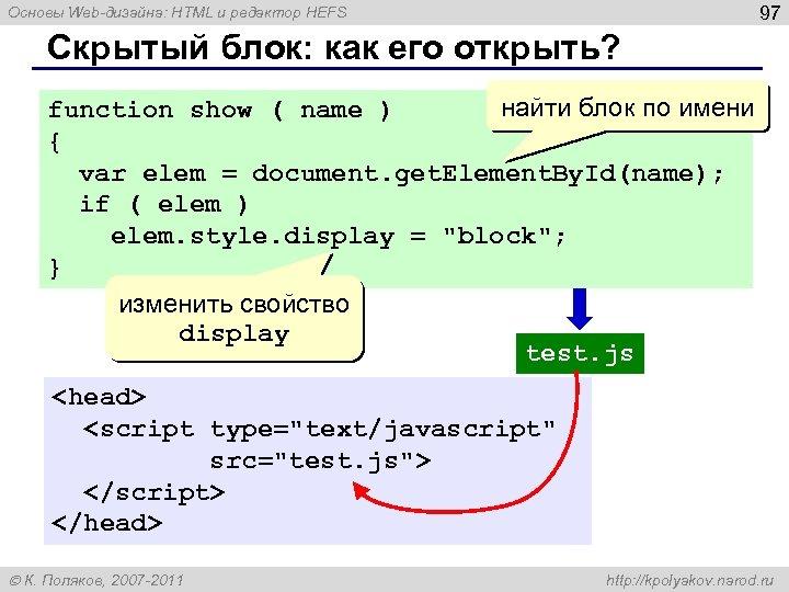 97 Основы Web-дизайна: HTML и редактор HEFS Скрытый блок: как его открыть? найти блок