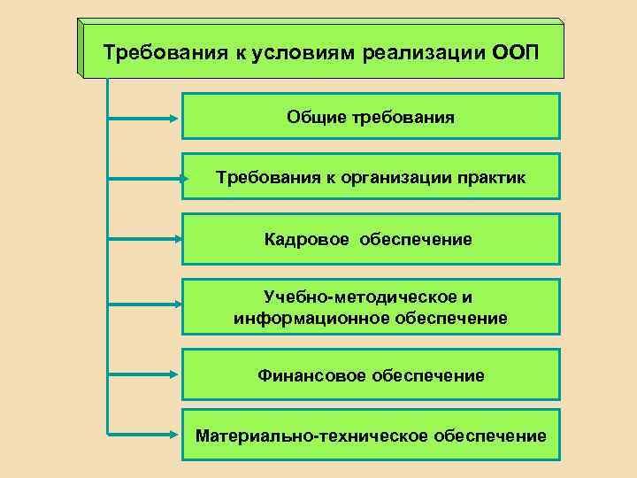 Требования к условиям реализации ООП Общие требования Требования к организации практик Кадровое обеспечение Учебно-методическое