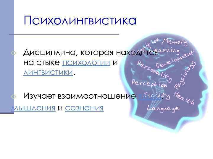 Психолингвистика o Дисциплина, которая находится на стыке психологии и лингвистики. o Изучает взаимоотношение языка,