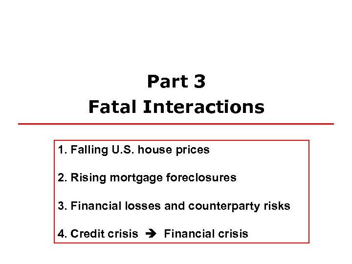 Part 3 Fatal Interactions 1. Falling U. S. house prices 2. Rising mortgage foreclosures