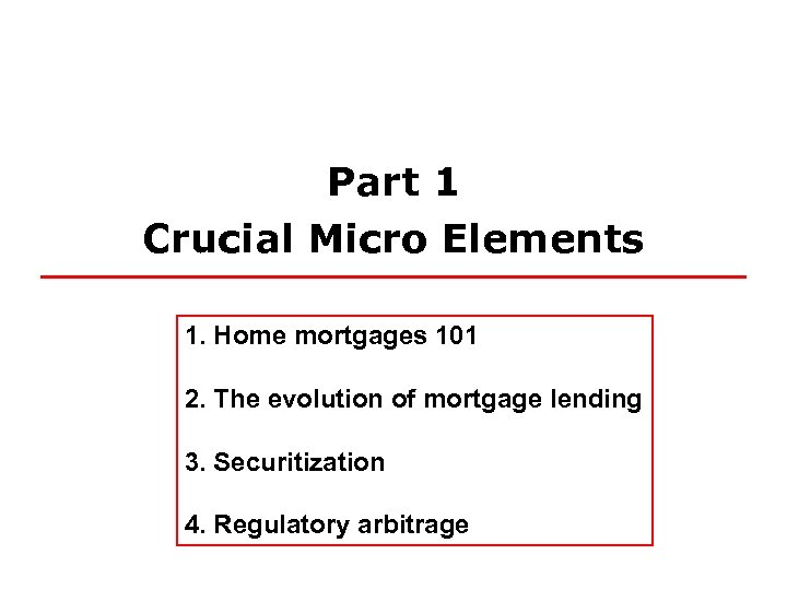 Part 1 Crucial Micro Elements 1. Home mortgages 101 2. The evolution of mortgage
