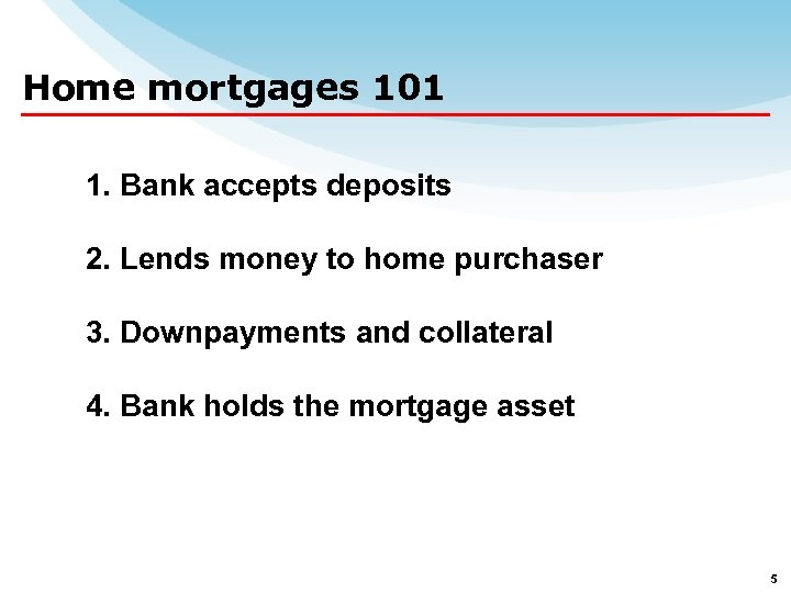 Home mortgages 101 1. Bank accepts deposits 2. Lends money to home purchaser 3.