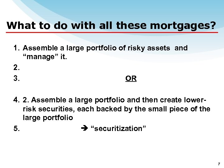 What to do with all these mortgages? 1. Assemble a large portfolio of risky