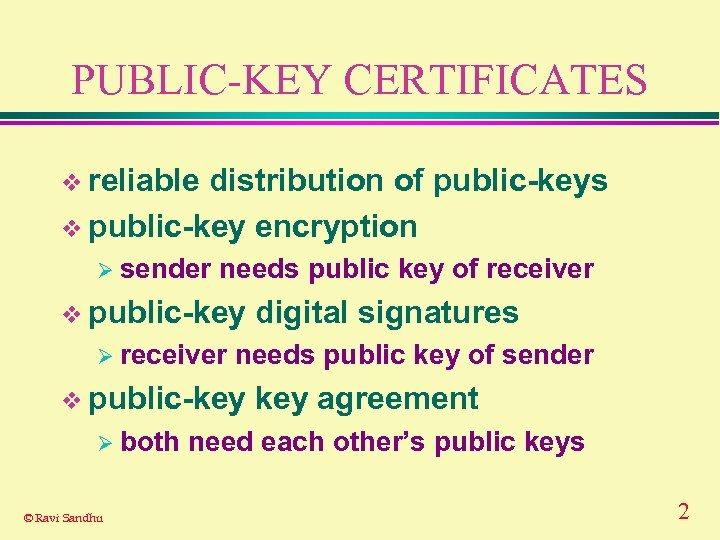 PUBLIC-KEY CERTIFICATES v reliable distribution of public-keys v public-key encryption Ø sender needs public