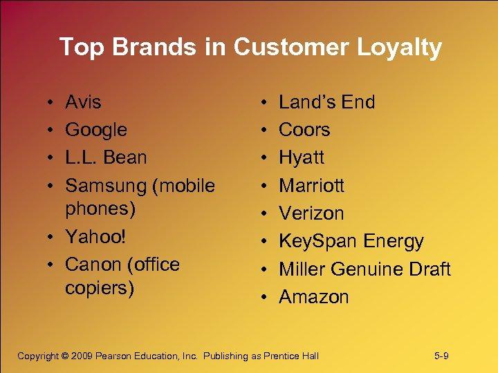 Top Brands in Customer Loyalty • • Avis Google L. L. Bean Samsung (mobile