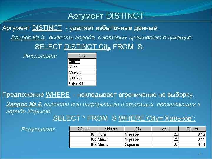 Аргумент DISTINCT - удаляет избыточные данные. Запрос № 3: вывести города, в которых проживают