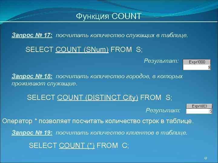 Функция COUNT Запрос № 17: посчитать количество служащих в таблице. SELECT COUNT (SNum) FROM