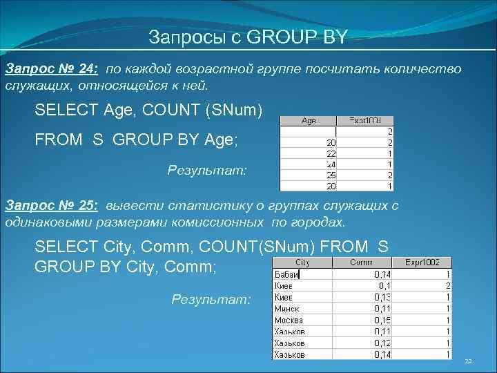 Запросы с GROUP BY Запрос № 24: по каждой возрастной группе посчитать количество служащих,
