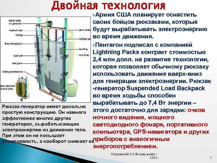 Двойная технология Армия США планирует оснастить своих бойцов рюкзаками, которые будут вырабатывать электроэнергию во