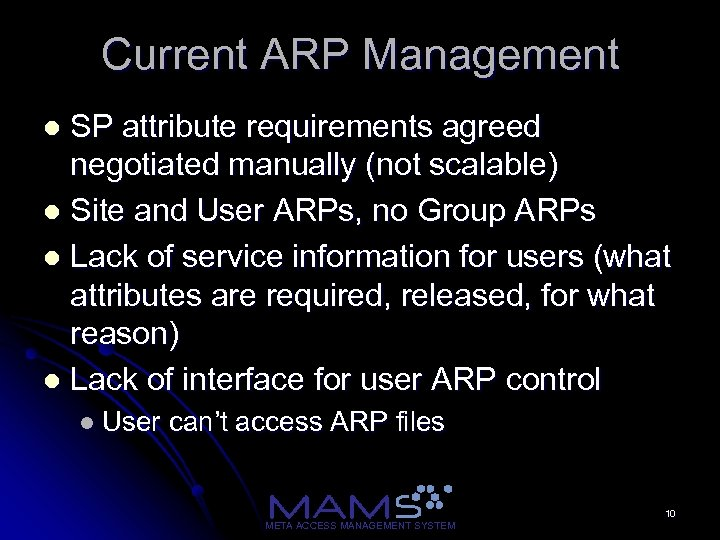 Current ARP Management SP attribute requirements agreed negotiated manually (not scalable) l Site and