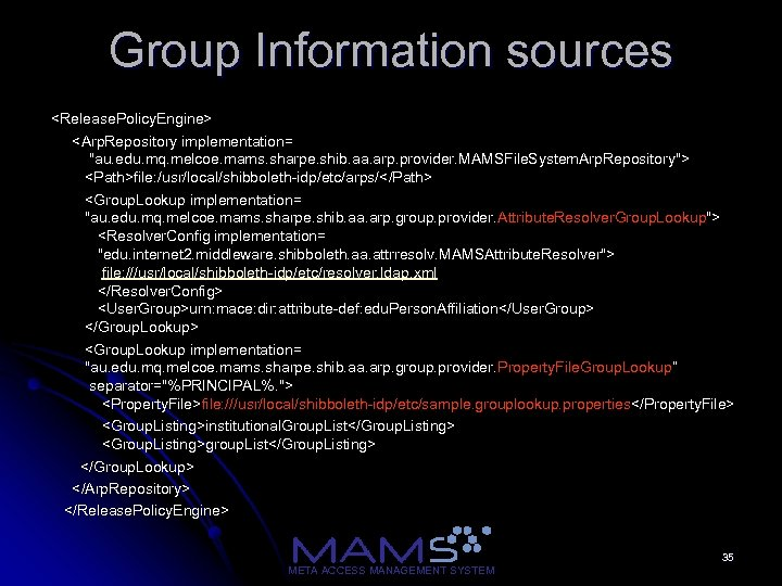 Group Information sources <Release. Policy. Engine> <Arp. Repository implementation=