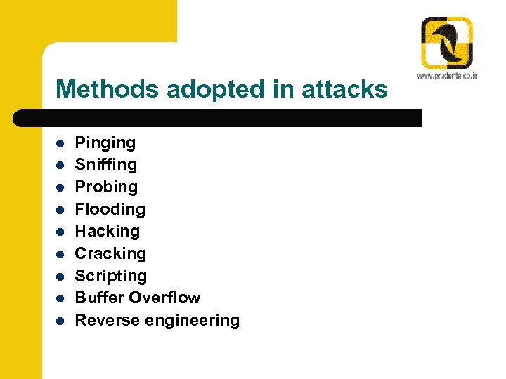 Methods adopted in attacks l l l l l Pinging Sniffing Probing Flooding Hacking