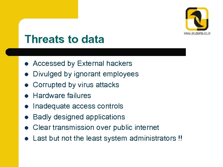Threats to data l l l l Accessed by External hackers Divulged by ignorant