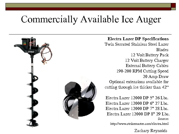 Commercially Available Ice Auger Electra Lazer DP Specifications Twin Serrated Stainless Steel Lazer Blades