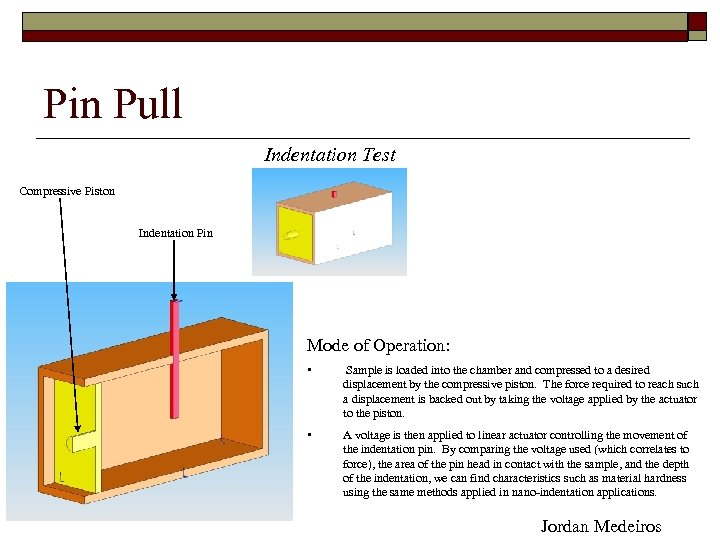 Pin Pull Indentation Test Compressive Piston Indentation Pin Mode of Operation: • Sample is