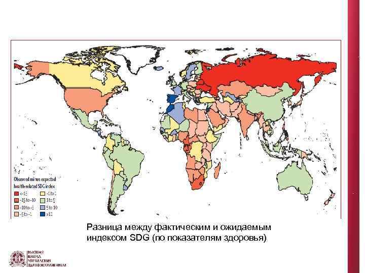 Разница между фактическим и ожидаемым индексом SDG (по показателям здоровья)