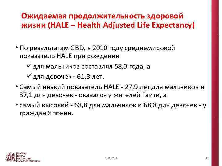 Ожидаемая продолжительность здоровой жизни (HALE – Health Adjusted Life Expectancy) • По результатам GBD,